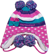 Beanie - Polka Dot Pom Poms with Ear Flaps