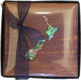 4 pack Coasters with Paua NZ Map